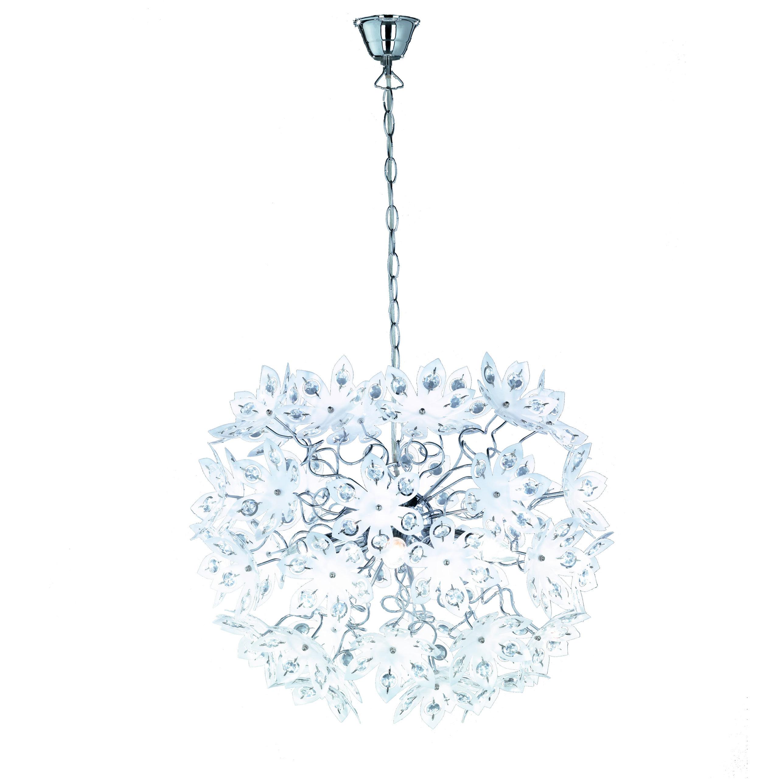 Reality Lampe suspension luminaire, Ø=50cm, fleurs acryliques, blanc