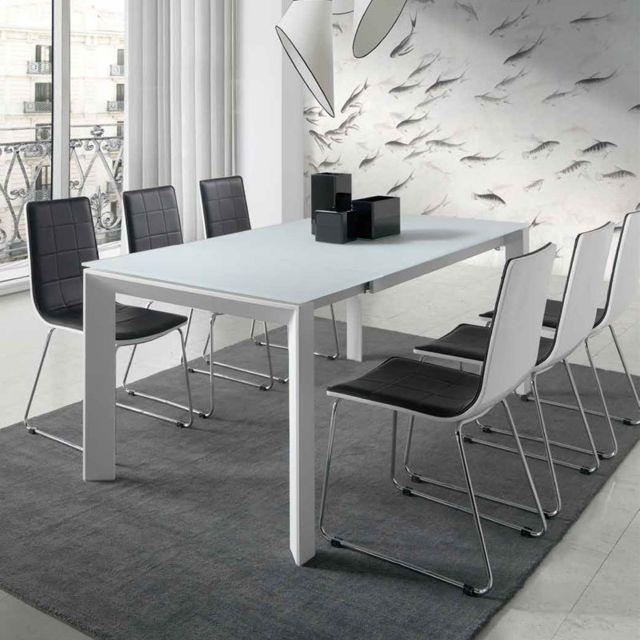 Nouvomeuble Table extensible blanc laqué design Emera