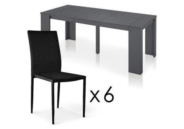 Declikdeco Table Repas Grise + 6 Chaises Empilables Noires Manhattan