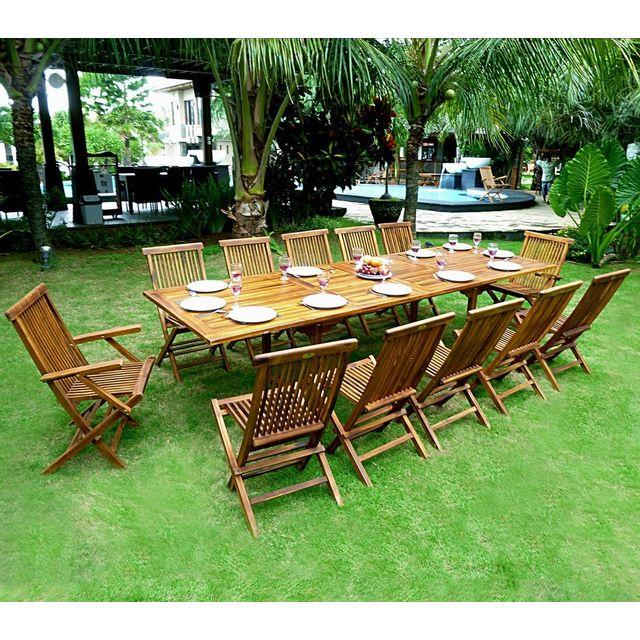 Wood En Stock - Salon de jardin en teck grande taille - table 300 cm ...