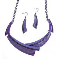 Fantzi - Parure fantaisie - collier époxy multicolore - résine - 40+9 cm + boucles d'orei