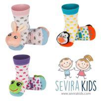 Sevira Kids - Lot de 3 paires de chaussettes d'éveil antidérapantes - 0/24 mois - pointure 19-21 - Stars Girl