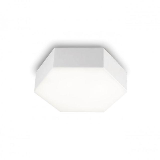 Leds C4 Plafonnier Six, aluminium et polycarbonate, blanc mat, 8 cm