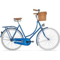 Privatefloor - Vélo de Ville Hollandais homme/femme - Pneus Blancs avec Panier Bleu