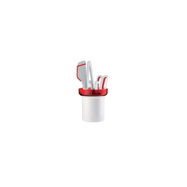 Guzzini Set De 5 Ustensiles My Kitchen Avec Support égouttoir - Rouge
