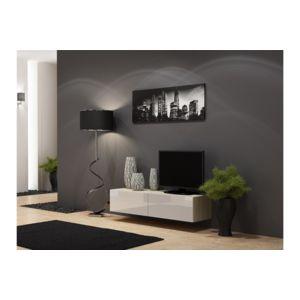 chloe design meuble tv design suspendu vito 140cm bois et blanc pas cher achat vente. Black Bedroom Furniture Sets. Home Design Ideas