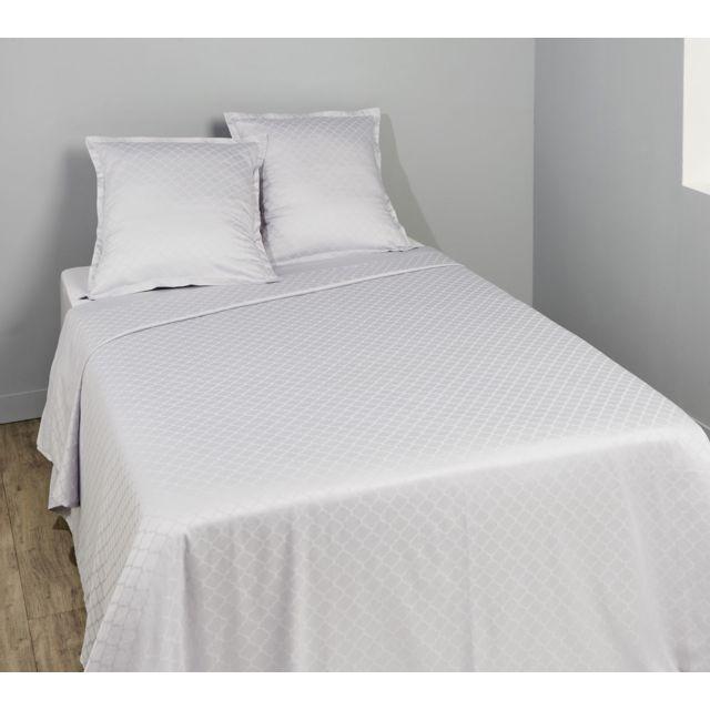 tex home parure vincennes drap plat drap housse 2 taies d 39 oreiller en coton gris 300cm x. Black Bedroom Furniture Sets. Home Design Ideas