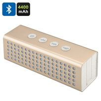 Shopinnov - Enceinte Bluetooth portable 20W + Powerbank 4400mAh Port carte micro Sd modele Doré