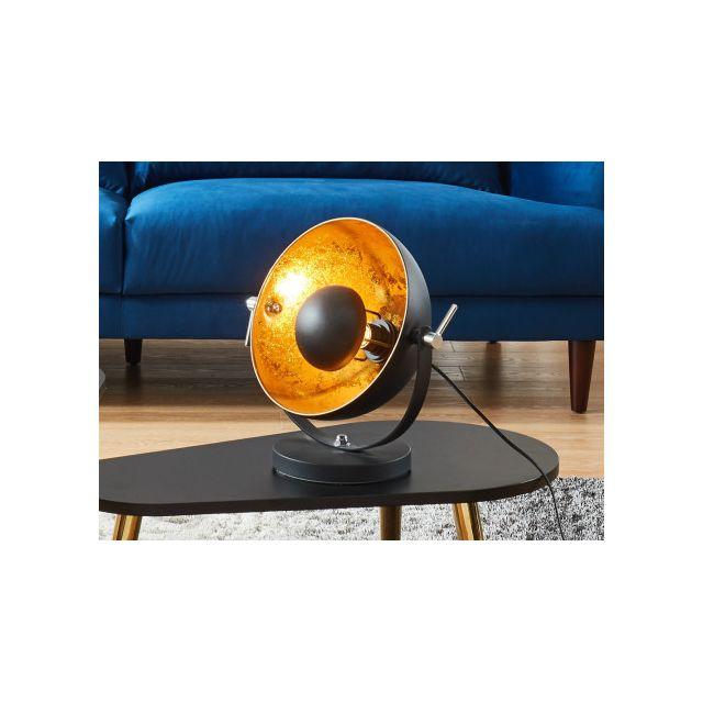 INSIDEART Lampe à poser cinéma industrielle MOVIE - H. 37 cm - Bicolore intérieur doré extérieur noir de la marque INSIDE ART