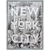 Promobo - Tableau Toile Cadre Imprimé Rétro New York City Building Encadrement Argenté 60 x 80cm