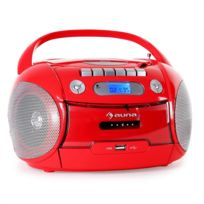 Auna - Boomheart Boombox lecteur Cd K7 radio stereo Usb Mp3 portable -rouge