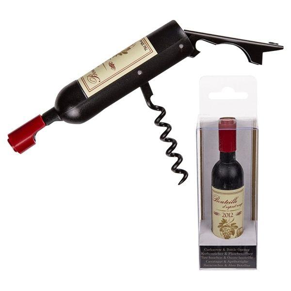 Totalcadeau Tire-bouchon et décapsuleur allure bouteille de vin Bordeaux 2012