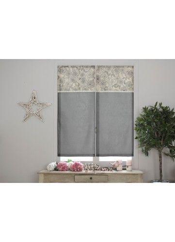 soldes homemaison paire de petits voilage imprim s fleurs pas cher achat vente voilage. Black Bedroom Furniture Sets. Home Design Ideas