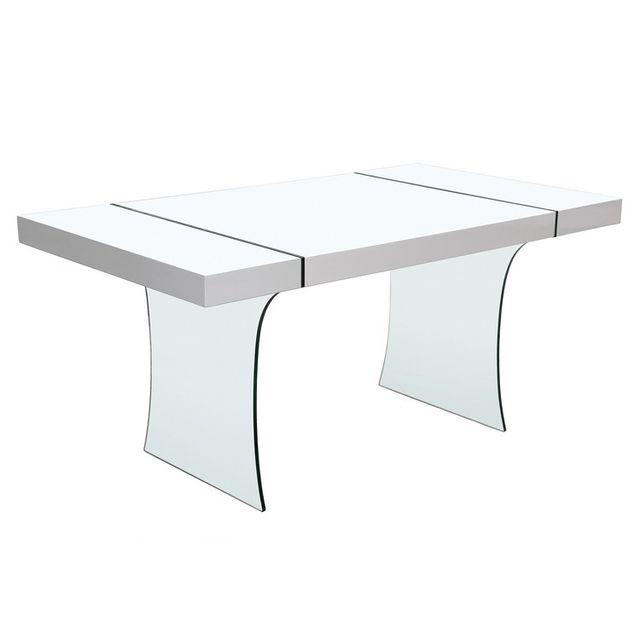 Axe Design Table à manger rectangulaire en bois et verre trempé L160 cm Medley