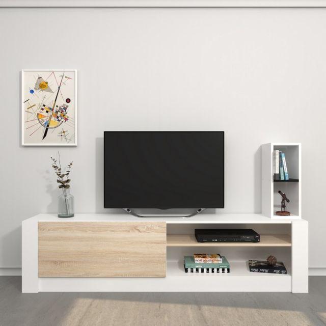 Homemania Meuble Tv Gomez - avec Compartiments - pour Salon - Blanc, Sonoma en Bois, 180 x 30 x 43 cm