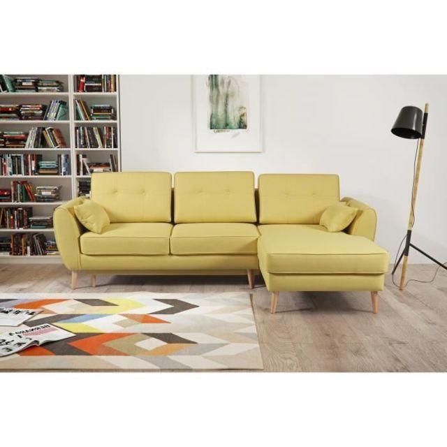 CANAPE - SOFA - DIVAN CANDY Canapé d'angle droit - Tissu jaune