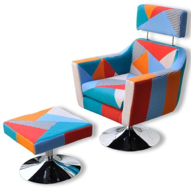 Vidaxl Fauteuil Tv en Tissu Patchwork | Multicolore