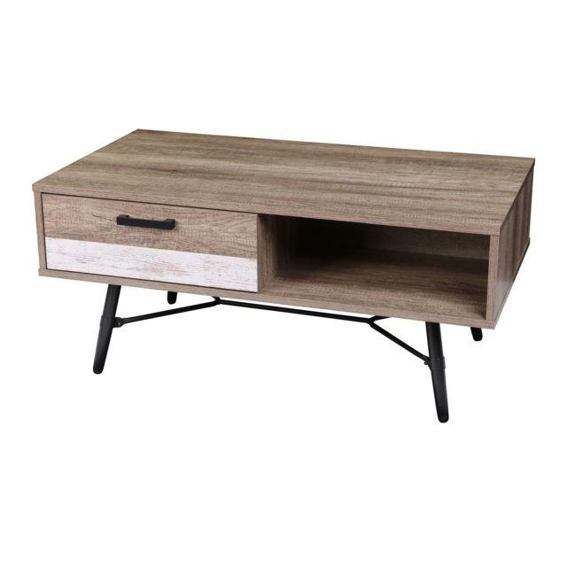 Urban Living Table basse Brooklyn - 100 x H. 49 cm - Marron