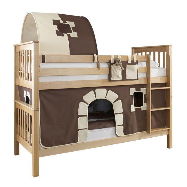 comforium lit superpos contemporain 90x200 cm en h tre massif avec tunnel et tente de jeu. Black Bedroom Furniture Sets. Home Design Ideas