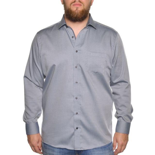 &TRADITION Chemise grise à petits motifs