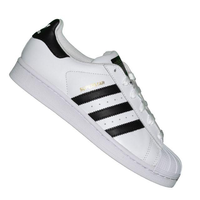 d3c6fbe695c Adidas originals - En Solde Baskets - Superstar Foundation J - Blanc Noir -  pas cher Achat   Vente Baskets femme - RueDuCommerce