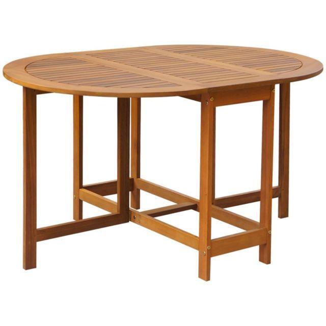 Vidaxl Table à abattants d'extérieur Ovale Bois d'acacia   Brun
