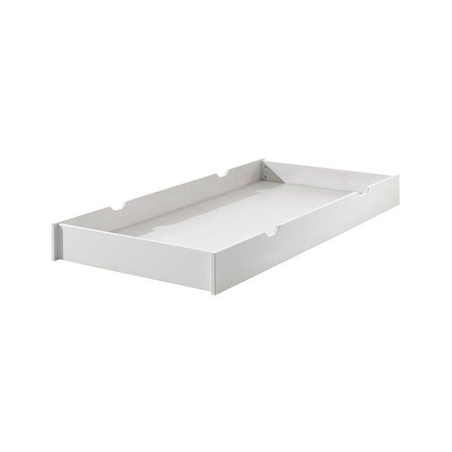 Vipack Erik Tiroir lit gigogne en bois laqué blanc L199 x H18,5 x P94 cm