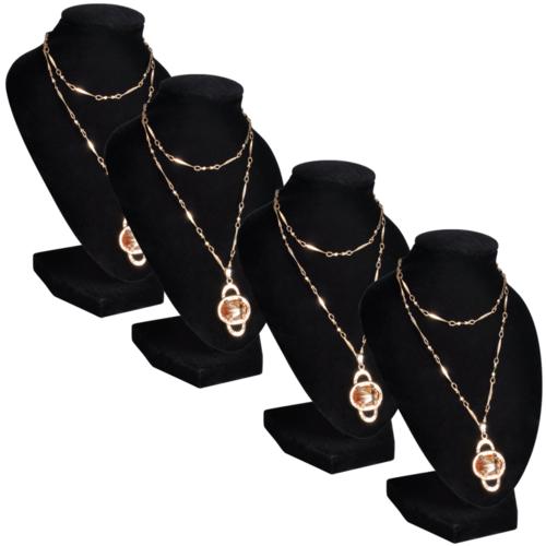 Rocambolesk - Superbe Présentoir buste d'exposition pour colliers en flanelle 4 pcs Neuf