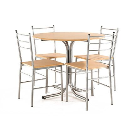Set table ronde + 4 chaises Mdf chêne