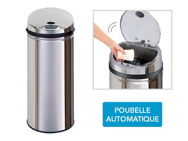 frandis poubelle automatique inox sensor 45l pas cher achat vente poubelle de cuisine. Black Bedroom Furniture Sets. Home Design Ideas