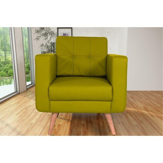 Rocambolesk Canapé fixe Hedvig 1 Pu Soft 13 Apple sofa divan