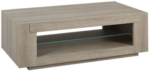 Table Basse Contemporaine 120 Cm Avec Etagere En Verre Coloris Chene Gris