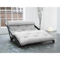 Inside 75 - Chaise longue convertible wengé Figo futon écru couchage 120 200cm