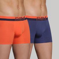 Dim - Lot de 2 Boxers Bleu Nuit/ Orange Feu SOFT TOUCH POP