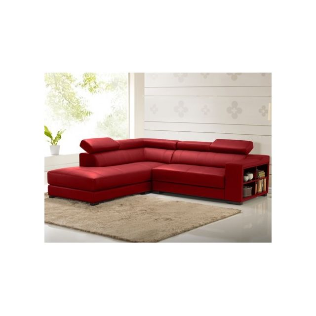 Vente-unique Canapé d'angle cuir Leeds - Rouge - Angle gauche