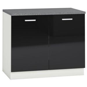 comforium meuble bas de cuisine design 100 cm avec 2 portes coloris blanc mat et noir laqu. Black Bedroom Furniture Sets. Home Design Ideas