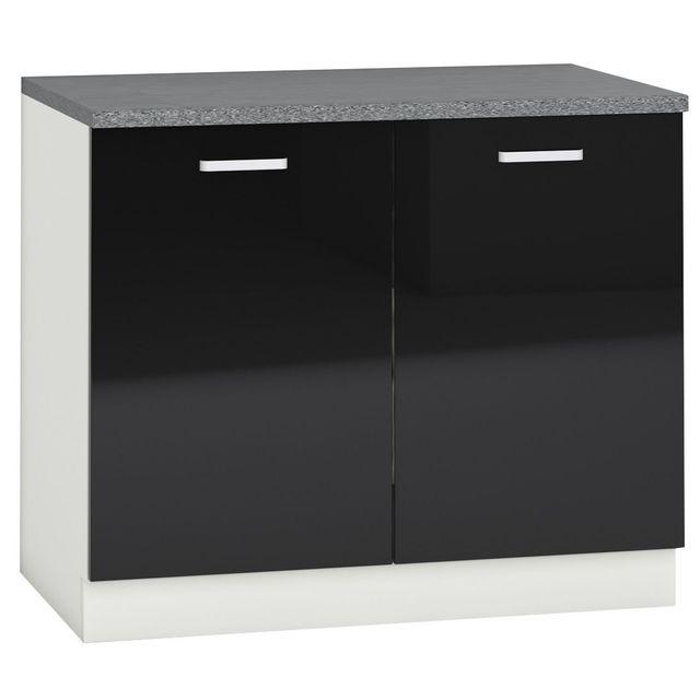 comforium meuble bas de cuisine design 100 cm avec 2 portes coloris blanc mat et