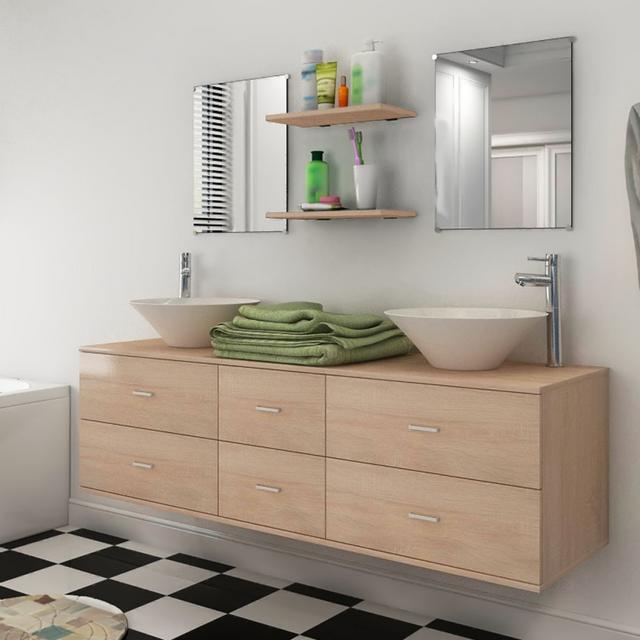 Vidaxl - 7 pièces de mobilier salle bain et lavabo Beige - pas cher ...