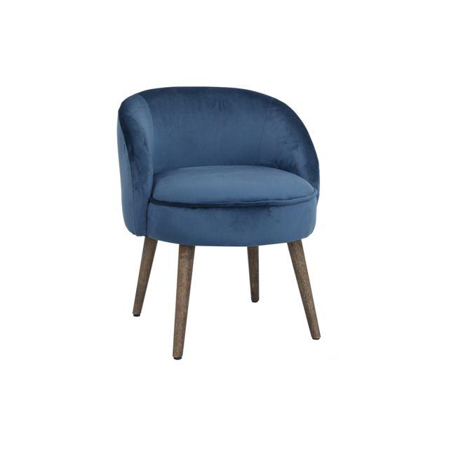 Miliboo Fauteuil design en velours bleu et pieds bois Uta