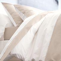 ca69d5acbe162 Blanc des Vosges - Housse de couette bicolore percale coton passepoil  torsadé lin blanc Memory