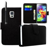 Vcomp - Housse Coque Etui portefeuille cuir Pu pour Samsung Galaxy S5 V G900F Sm-g903F G900IKSMATW Lte G901F/ Duos / S5 Plus/ S5 Neo/ S5 Lte-a G906S + stylet - Noir