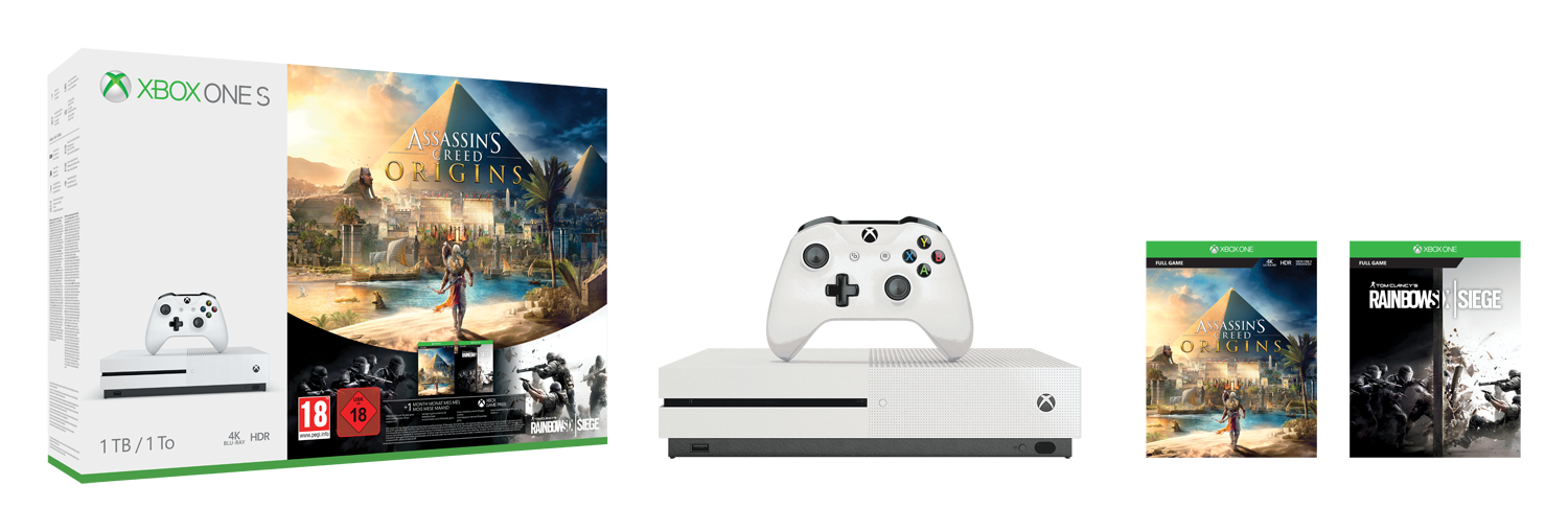 Pack Xbox One S 1To Assassin's Creed Origins + Rainbow Six: Siege