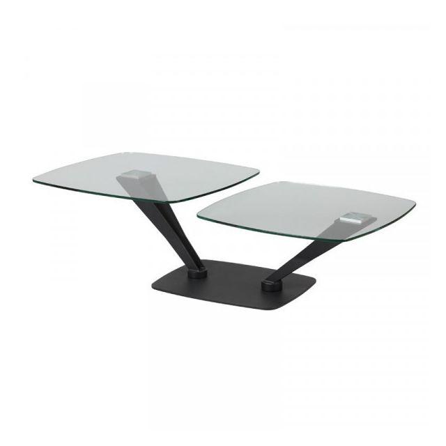 Dansmamaison Table basse Métal/Verre - Trutas - L 119 x l 70 x H 40 cm