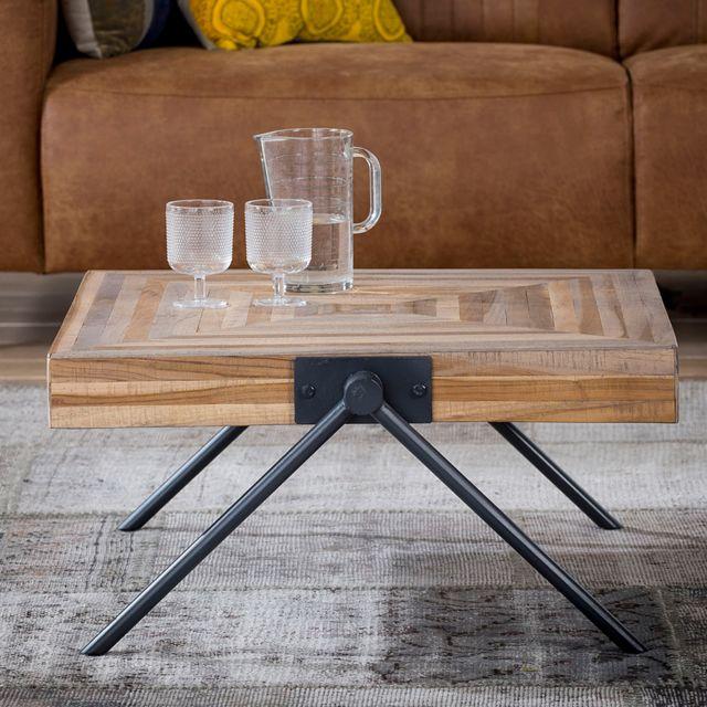 Nouvomeuble Table basse carrée 70 cm en teck et métal Russell