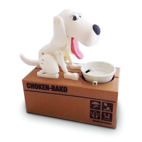 Totalcadeau Tirelire chien mangeur de pièces voleur blanc