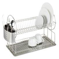 Wenko - Egouttoir à vaisselle inox - 2 étages - porte-couverts - récupérateur d'eau
