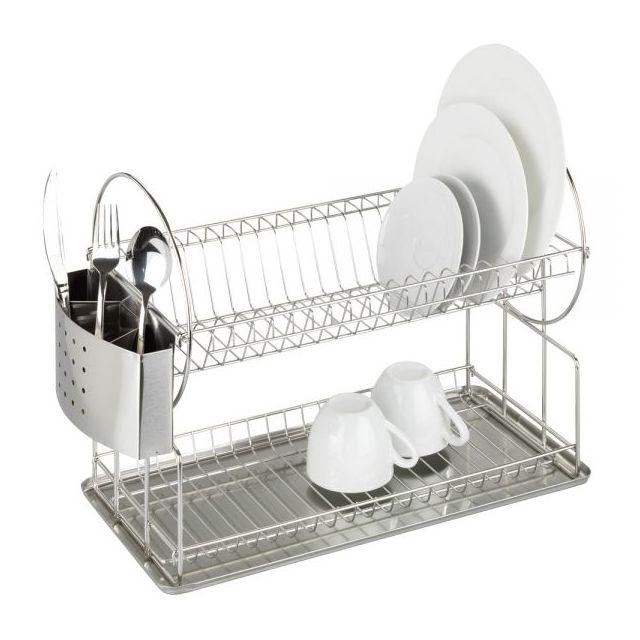Wenko - Egouttoir à vaisselle inox - 2 étages - porte-couverts ...