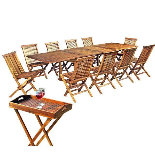 Wood En Stock - Salon de jardin en teck huilé 12 places avec ...