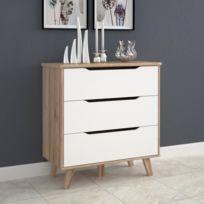 Commode De Chambre Commode de chambre Vankka scandinave décor chene et  blanc mat + pieds en bois massif - L 80 cm