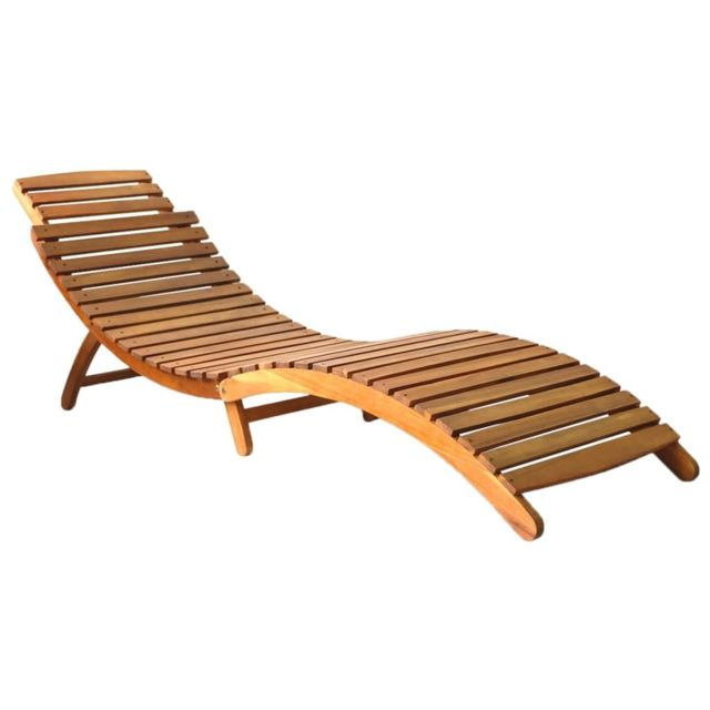 Vidaxl Chaise longue Bois d'acacia solide Marron